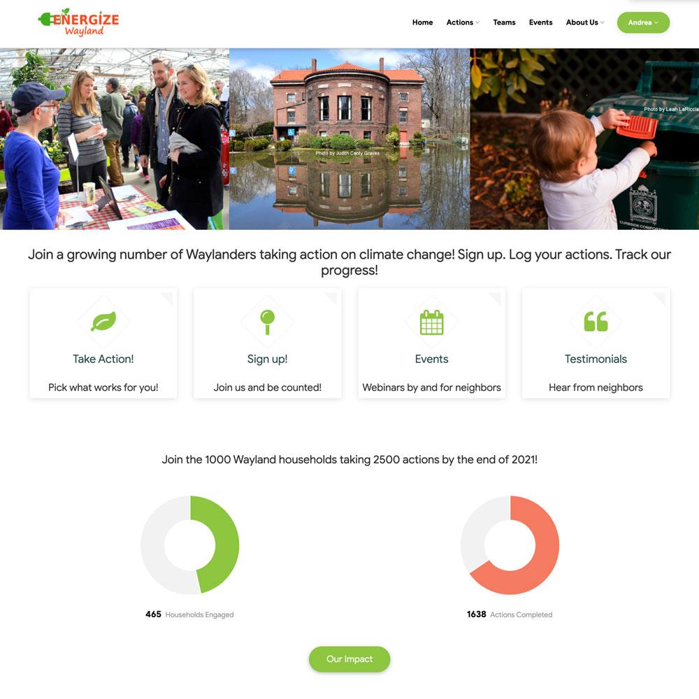 Interactive website homepage